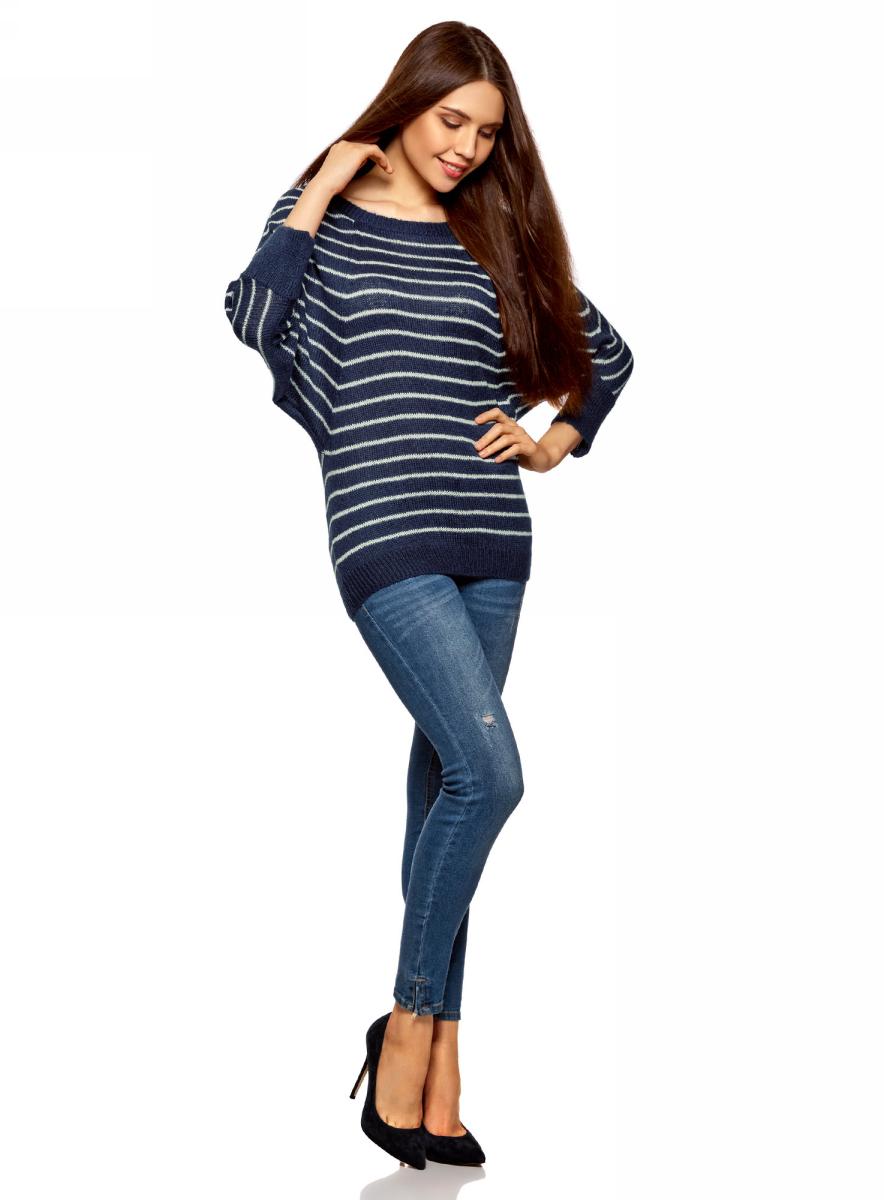 Джемпер женский oodji Collection, цвет: темно-синий. 73805611/22191/7912S. Размер L (48) цена