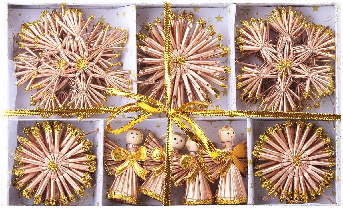 Новогоднее подвесное украшение выполнено из соломки, покрыто лаком и декорировано глиттером. В наборе 26 штук.