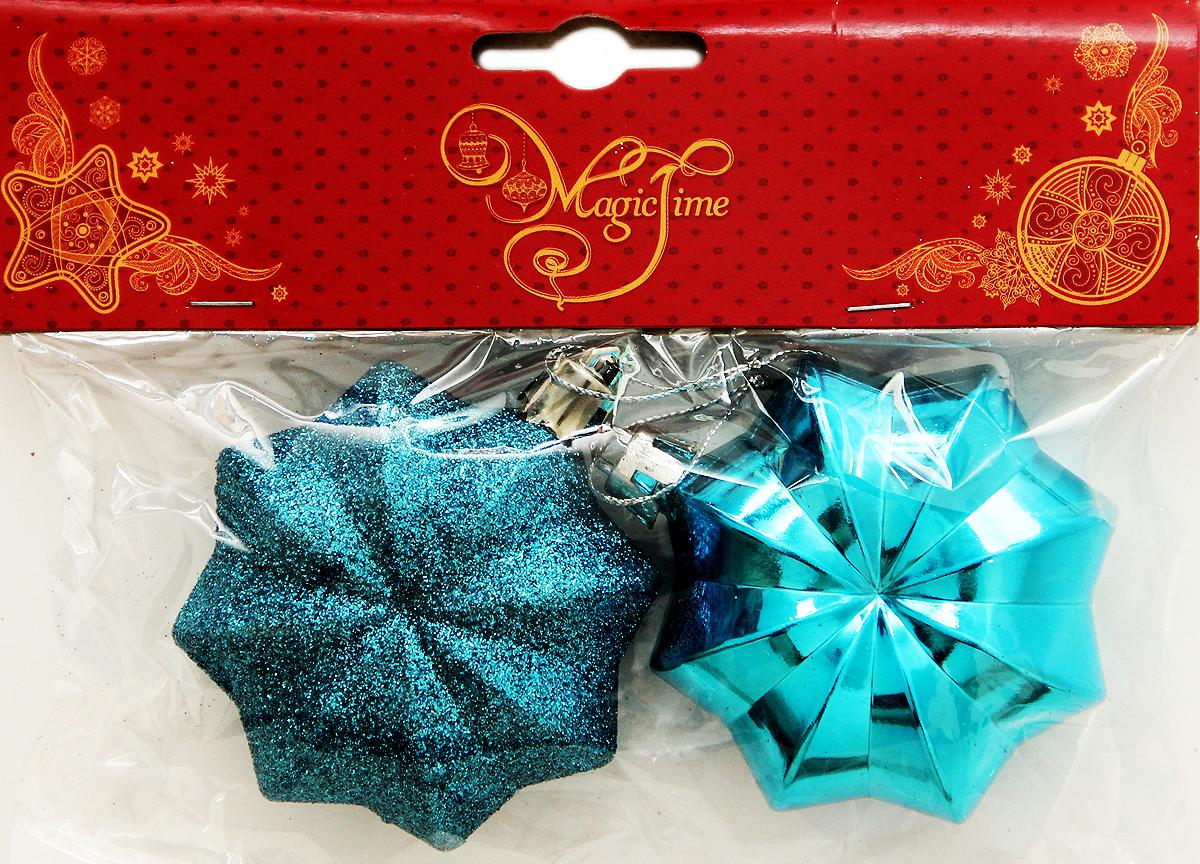 Новогоднее подвесное украшение Magic Time Шар. Бирюзовый многогранник, 2 шт39022Новогоднее украшение Magic Time, выполненное из пластика, отлично подойдет для декорации вашего дома и новогодней ели. С помощью специальной петельки украшение можно повесить в любом понравившемся вам месте. Но, конечно, удачнее всего оно будет смотреться на праздничной елке.Елочная игрушка - символ Нового года. Она несет в себе волшебство и красоту праздника. Такое украшение создаст в вашем доме атмосферу праздника, веселья и радости.В наборе 2 подвесных украшения.