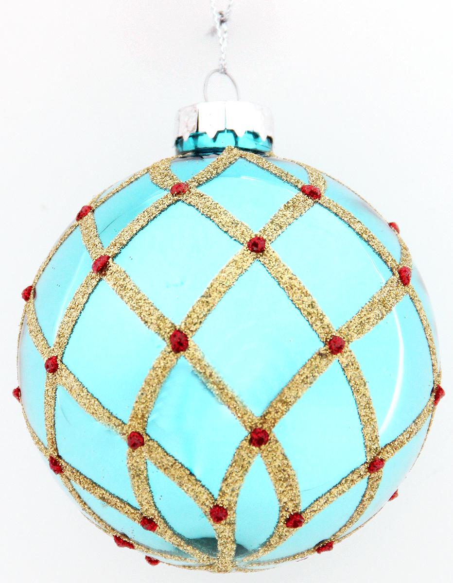 Новогоднее подвесное украшение Magic Time Шар. Холодная лазурь, диаметр 8 см42352Новогоднее украшение Magic Time, выполненное из стекла, отлично подойдет для декорации вашего дома и новогодней ели. С помощью специальной петельки украшение можно повесить в любом понравившемся вам месте. Но, конечно, удачнее всего оно будет смотреться на праздничной елке.Елочная игрушка - символ Нового года. Она несет в себе волшебство и красоту праздника. Такое украшение создаст в вашем доме атмосферу праздника, веселья и радости.