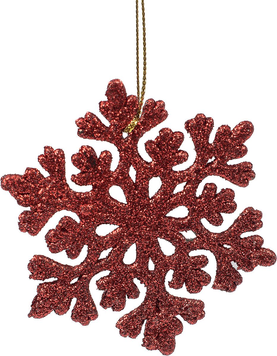 Украшение новогоднее елочное Magic Time Снежинка ажурная красная. 7510075100Новогоднее подвесное елочное украшение Снежинка ажурная красная из полипропилена, 9,5х8,5см, артикул 75100