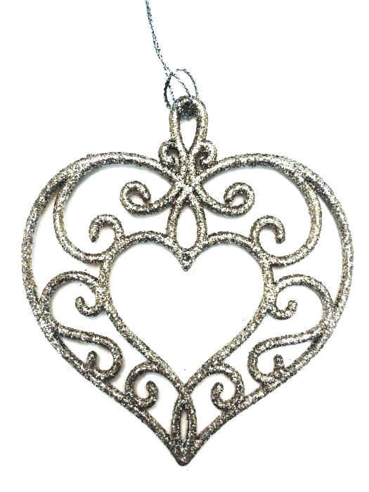 Новогоднее подвесное украшение Magic Time Золотое сердце75117Новогоднее украшение Magic Time, выполненное из полипропилена, отлично подойдет для декорации вашего дома и новогодней ели. С помощью специальной петельки украшение можно повесить в любом понравившемся вам месте. Но, конечно, удачнее всего оно будет смотреться на праздничной елке.Елочная игрушка - символ Нового года. Она несет в себе волшебство и красоту праздника. Такое украшение создаст в вашем доме атмосферу праздника, веселья и радости.