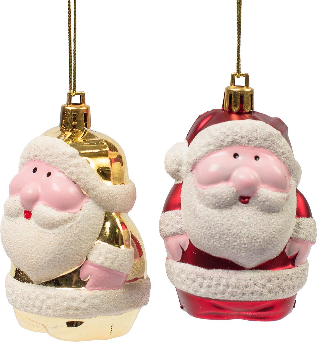 Украшение новогоднее подвесное Magic Time, 2 шт. 7544675446Новогоднее подвесное украшение, выполненное из пластика, в виде фигурки Деда Мороза. В наборе 2 шт.