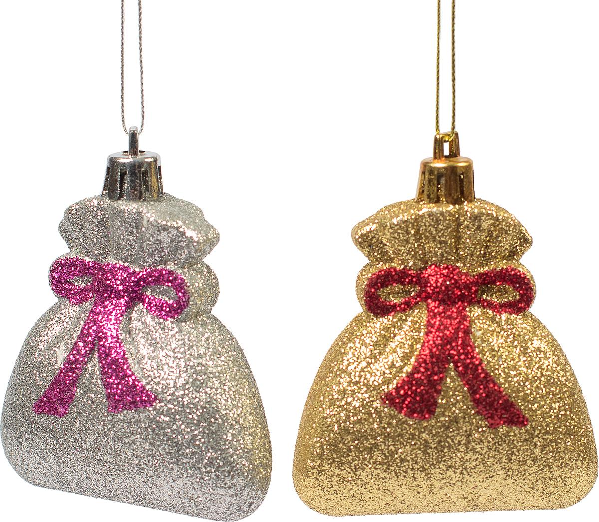 Украшение новогоднее подвесное Magic Time, 2 шт. 7545175451Новогоднее подвесное украшение из пластика (7х5,5 см), набор из 2 шт, 16x4см, артикул 75451