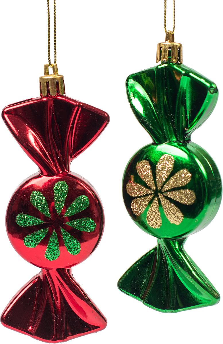 Украшение новогоднее подвесное Magic Time, 2 шт. 7545575455Новогоднее подвесное украшение из пластика (10х4 см), набор из 2 шт, 17x4см, артикул 75455