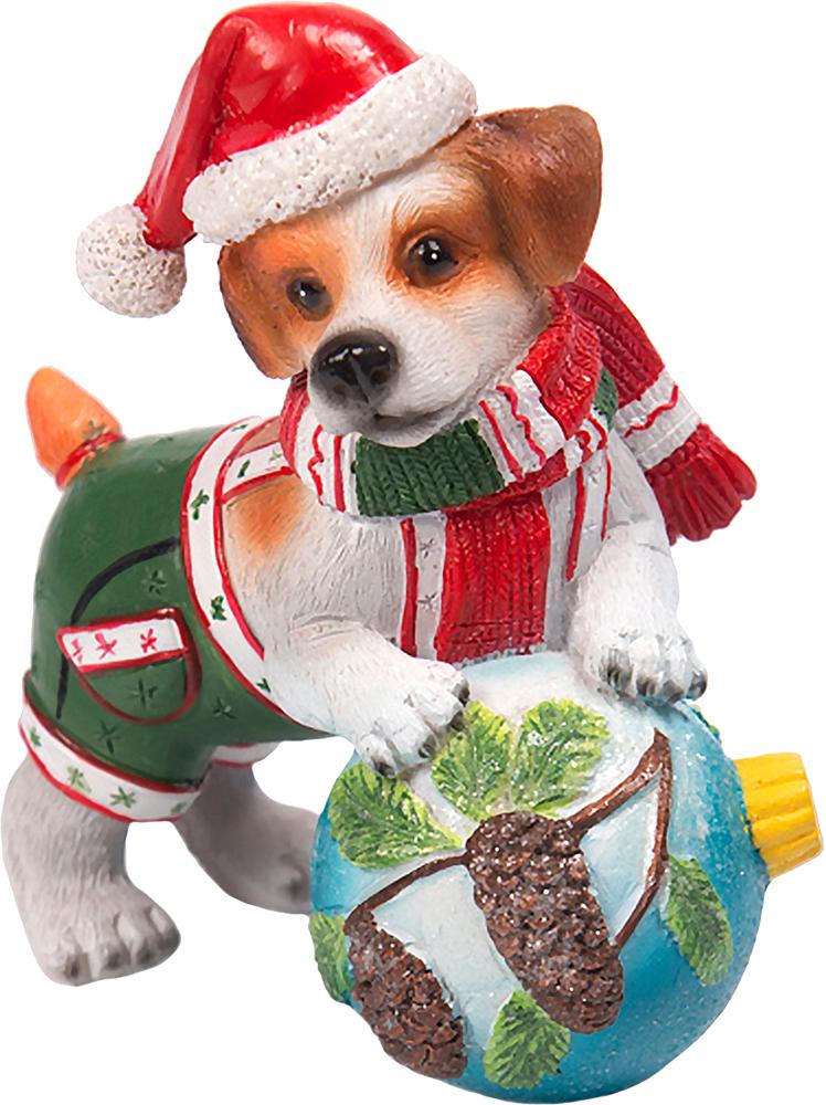 Фигурка декоративная Magic Time Собака с ёлочной игрушкой. 7558575585Декоративная фигурка из полирезины СОБАКА С ЁЛОЧНОЙ ИГРУШКОЙ, 8,5x5,5x10 см, артикул 75585