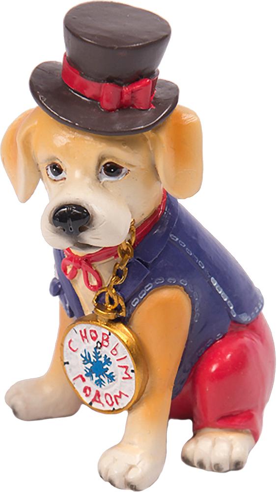 Фигурка декоративная Magic Time Собака в цилиндре. 7558675586Декоративная фигурка из полирезины СОБАКА В ЦИЛИНДРЕ, 6x6,5x10 см, артикул 75586