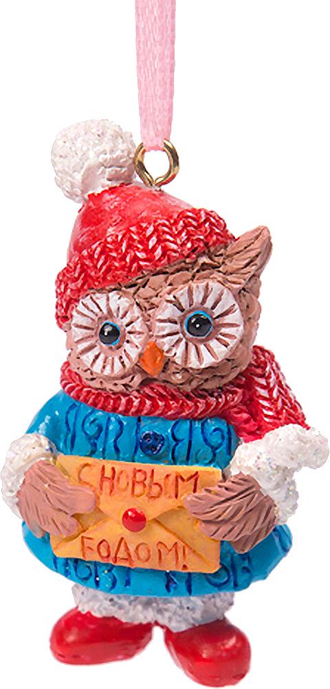 Украшение новогоднее подвесное Magic Time Совушка с письмом. 7561875618Новогоднее подвесное украшение из полирезины СОВУШКА С ПИСЬМОМ, 3,5x3x6 см, артикул 75618