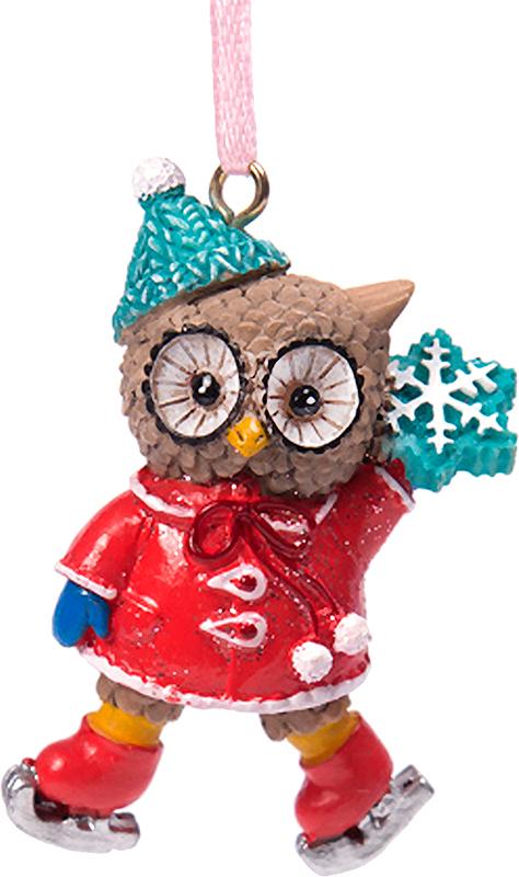 Украшение новогоднее подвесное Magic Time Совушка на коньках. 7562175621Новогоднее подвесное украшение из полирезины СОВУШКА НА КОНЬКАХ, 3,5x2x5,5 см, артикул 75621