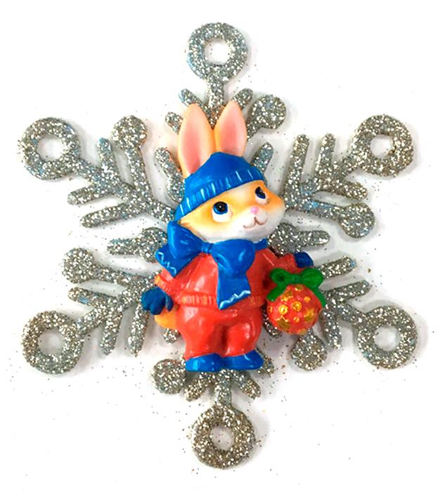 Украшение новогоднее подвесное Magic Time Зайка в снежинке75624Новогоднее подвесное украшение Зайка в снежинке выполнено из полирезина и акрила.