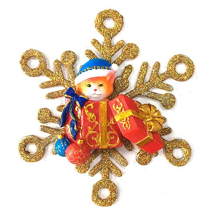 Украшение новогоднее подвесное Magic Time Котик с подарками в снежинке. 7562875628Оригинальное новогоднее украшение Magic Time выполнено из полирезины и акрила в виде котика с подарками в снежинке. Украшение можно повесить в любом понравившемся вам месте. Но, конечно же, удачнее всего такая игрушка будет смотреться на праздничной елке. Новогодние украшения приносят в дом волшебство и ощущение праздника. Создайте в своем доме атмосферу веселья и радости, украшая всей семьей новогоднюю елку нарядными игрушками, которые будут из года в год накапливать теплоту воспоминаний.