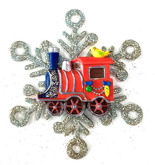 Украшение новогоднее подвесное Magic Time Паровозик в снежинке. 7562975629Оригинальное новогоднее украшение Magic Time выполнено из полирезины и акрила в виде паровозика в снежинке. Украшение можно повесить в любом понравившемся вам месте. Но, конечно же, удачнее всего такая игрушка будет смотреться на праздничной елке. Новогодние украшения приносят в дом волшебство и ощущение праздника. Создайте в своем доме атмосферу веселья и радости, украшая всей семьей новогоднюю елку нарядными игрушками, которые будут из года в год накапливать теплоту воспоминаний.