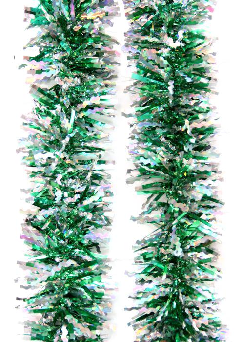 Мишура новогодняя Magic Time, цвет: зеленый, серебристый, диаметр 6 см, длина 200 см. 7574075740Новогодняя мишура Magic Time, выполненная из ПЭТ (полиэтилентерефталат), поможет вам украсить свой дом к предстоящим праздникам. Новогодняя елка с таким украшением станет еще наряднее.Новогодней мишурой можно украсить все, что угодно - елку, квартиру, дачу, офис - как внутри, так и снаружи. Можно сложить новогодние поздравления, буквы и цифры, мишурой можно украсить и дополнить гирлянды, можно выделить дверные колонны, оплести дверные проемы. Коллекция декоративных украшений из серии Magic Time принесет в ваш дом ни с чем несравнимое ощущение волшебства! Создайте в своем доме атмосферу тепла, веселья и радости, украшая его всей семьей.