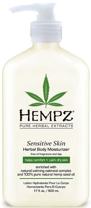 Hempz Sensitive Skin Herbal Moisturizer Молочко для тела увлажняющее, чувствительная кожа, 500 мл4607086567265Hempz Sensitive Skin Herbal Moisturizer: Быстро впитывается и увлажняет. Натуральный успокаивающий комплекс на основе овса помогает уменьшить сухость и делает кожу мягкой и гладкой. Натуральные экстракты и масла помогают восстановить и удерживать необходимый баланс влаги в сухой и чувствительной коже. Обогащён маслом ши, имеет успокаивающее действие. Благодаря питательными веществами из натурального какао масло помогает глубоко увлажнить и напитать нежную кожу. Масло семян Манго помогает удерживать влагу в коже и делает её более гладкой и бархатистой. Без красителей. Без парабенов. Без глютенов. Не содержит наркотических веществ