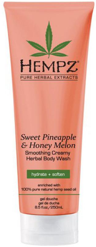 Hempz Sweet Pineapple and Honey Melon Herbal Body Wash Гель для душа Ананас и Медовая Дыня, 250 мл110-2289-03Гель для душа Hempz Sweet Pineapple Honey Melon Herbal Body Wash мягко очищает и смягчает кожу, не нарушая гидро-липидный баланс. Масло и экстракт семян конопли мгновенно увлажняют, питают и восстанавливают естественный гидро-баланс кожи. Способ применения: для душа нанести на влажное тело, смыть водой. Для принятия ванны небольшое количество косметического средства добавить в наполняемую ванну. Гель рекомендован для ежедневного применения. Примечание. Для достижения максимально возможного положительного эффекта используйте средство в комплексе с любым увлажняющим молочком Hempz или с питательным кремом для тела Hempz.