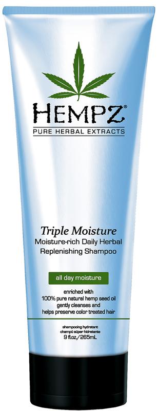 Hempz Triple Moisture Replenishing Shampoo Шампунь тройное увлажнение, 265 мл120-2412-03Супер заряженная формула для интенсивного восстановления и увлажнения для сухих и поврежденных волос. Подходит для частого применения. Максимальная степень увлажнения. Густая пена мягко очищает, поддерживает цвет окрашенных волос. Смягчает волосы.