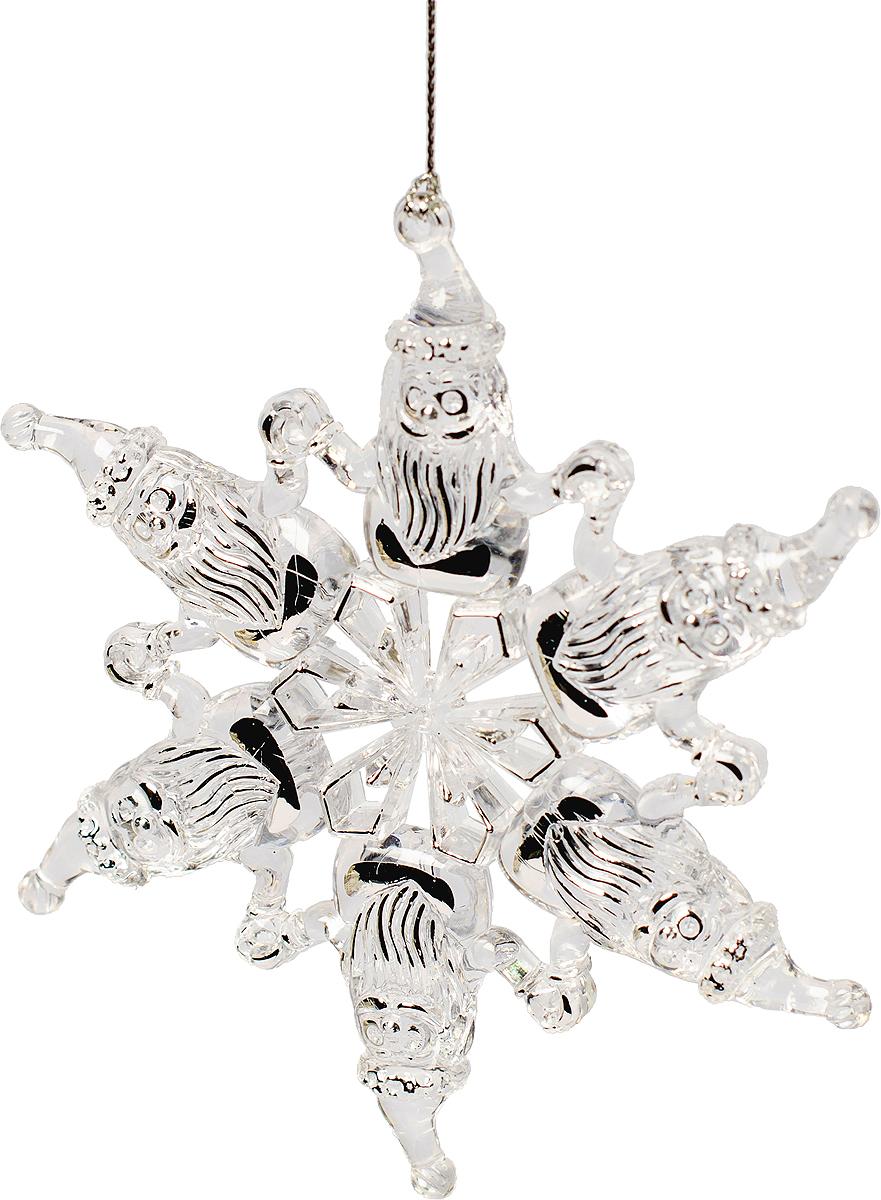 Украшение новогоднее елочное Magic Time Снежинки. Санта и Снеговик. 7596075960Новогоднее подвесное елочное украшение Снежинки Санта и Снеговик из полистирола, 12,1, артикул 75960