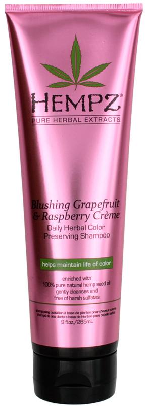 Hempz Blushing Grapefruit&Raspberry Creme Shampoo Шампунь гейпфрут и Малина для сохранения цвета и блеска окрашенных волос, 265 мл120-2413-03Растительный шампунь легкой степени увлажнения для частого использования. Густая пена шампуня мягко очищает волосы. Без сульфатов для максимального сохранения цвета окрашенных волос. Коллекция супер-питательных бессульфатных шампуней на основе 100% натурального масла семян конопли для ухода за окрашенными и ослабленными волосами. Новые формулы для интенсивного увлажнения, восстановления, блеска и молодости ваших волос! Без парабенов и глютенов.