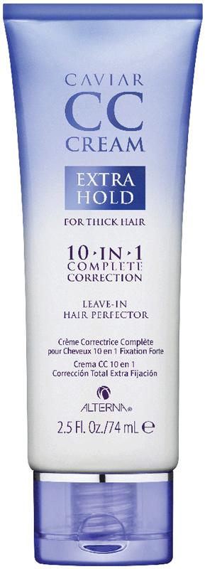 Alterna Caviar CC Cream Extra Hold for Thick Hair 10-in-1 Complete Correction CC-крем Комлексный уход-корректор для волос с экстра фиксацией, 74 мл67225.ICC-крем – новейший тренд в косметологии, который приходит на смену нашумевшему ВВ-крему. Он предлагает те же преимущества: увлажнение, защиту от солнца, восстановление кожи, но обещает иметь более легкую, немасляную текстуру и дополнительные ингредиенты в составе (например, витамин С). Alterna вновь предлагает использовать принципы косметологии в уходе за волосами – с помощью Комплексного ухода-корректора для волос, который несет в себе сразу 10 полезных свойств: 1. Увлажнение (глицерин, экстракт черной икры) 2. Блеск (масло семян подсолнечника) 3. Гладкость (пантенол, экстракт ромашки аптечной) 4. Мягкость (пантенол, экстракт ромашки аптечной) 5. защита от ультрафиолета (витамин Е, аскорбиновая кислота) 6. послушность (масло семян подсолнечника) 7. сила (экстракт черной икры, масло семян подсолнечника) 8. защита от ломкости (экстракт черной икры) 9. термозащита (экстракт черной икры, масло семян подсолнечника) 10. экстра фиксация. С этим несмываемым чудо-кремом вы сможете справиться с 10 проблемами волос за один шаг. Он обеспечивает волосам увлажнение, яркий блеск, гладкость, мягкость, шелковистость, силу, защищает волосы от ломкости, облегчает процесс укладки в целом, а также обеспечивает защиту от УФ излучения, термозащиту и даже легкий стайлинговый эффект – то есть ваши волосы обретают все для того чтобы выглядеть безупречно. Особенности: • Комплекс Age-Control® содержит 3 основных компонента: Экстракт черной икры, Витамин С & Цитокины для борьбы с природным, химическим и экологическим старением волос. Экстракт черной икры - один из самых богатых в мире источников омега-3 жирных кислот, которые увлажняют и придают эластичность волосам. Витамин С - проверенный антиоксидант, который предотвращает повреждение волос. Цитокины - элементы, которые улучшают микро-циркуляцию и кровообращение. • Защита цвета Color Hold®