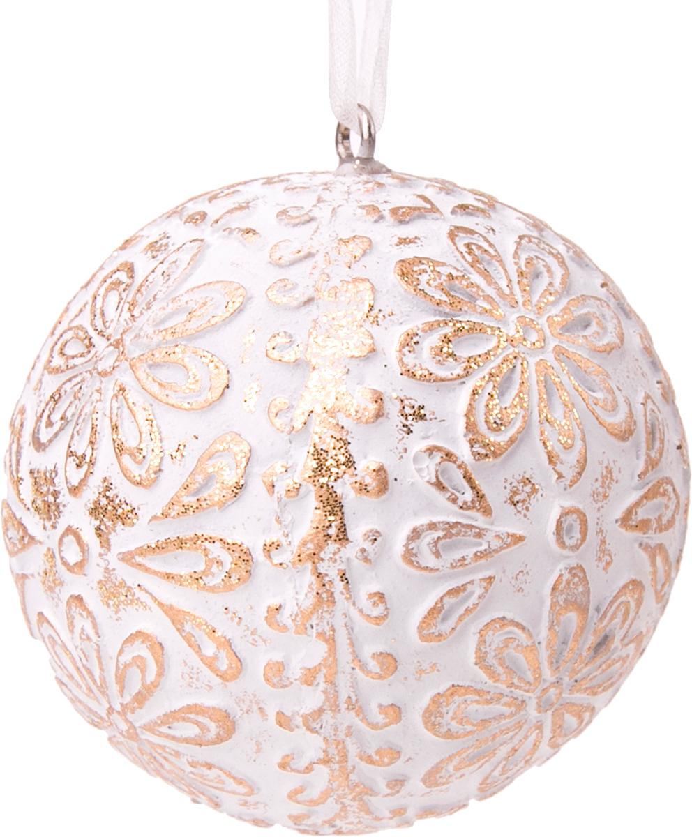 Украшение новогоднее подвесное Magic Time Золотое кружево. 7617076170Новогоднее подвесное украшение Золотое кружево из полирезины, 6x6x6см, артикул 76170