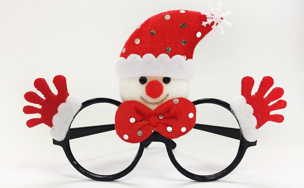 Очки новогодние Magic Time Снеговик, цвет: красный. 7619576195Новогодние очки Красный Снеговик из полипропилена с декором из нетканого материала (полиэстер), 20x16см, артикул 76195