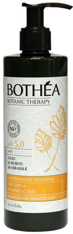 Bothea Nutri-Repair Shampoo Per Capelli Danneggiati pH 5.0 Шампунь для поврежденных волос, 300 млBT00016Шампунь с нежной формулой, которая питает и восстанавливает поврежденные волосы от повторных обработок химических и атмосферных агентов. Помогает предотвратить обезвоживание, восстанавливает, дарит яркость и силу волос стресс.