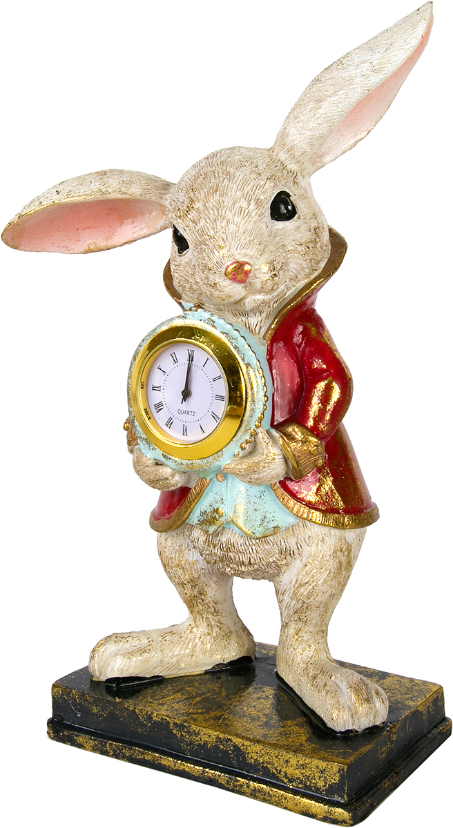 Фигурка декоративная Magic Home Кролик с часами, высота 22 см76667Фигурка декоративная Кролик с часами с кварцевыми часами - это прекрасное украшение интерьера, выполненное из высококачественной полирезины. Это простой и доступный способ сделать неповторимым свой интерьер, как дома, так и в офисе. Сказочный персонаж создает атмосферу волшебства и радости, которая увлечёт за собой детей и взрослых. Изумительная фигурка станет отличным подарком для близких и друзей, вызывая улыбку и поднимая настроение с первого взгляда. В коллекции ЧУДЕСНАЯ СТРАНА представлено несколько обаятельных и задорных героев, которые покоряют своей оригинальностью.
