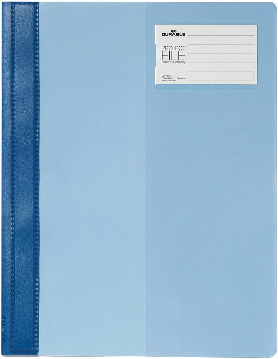 Durable Папка-скоросшиватель для проектов Project File цвет голубой2745-06Папка-скоросшиватель для проектов. Прозрачная верхняя обложка выполнена из износостойкого пластика, имеет карман для титульного листа. Дополнительный карман для визитной карточки.
