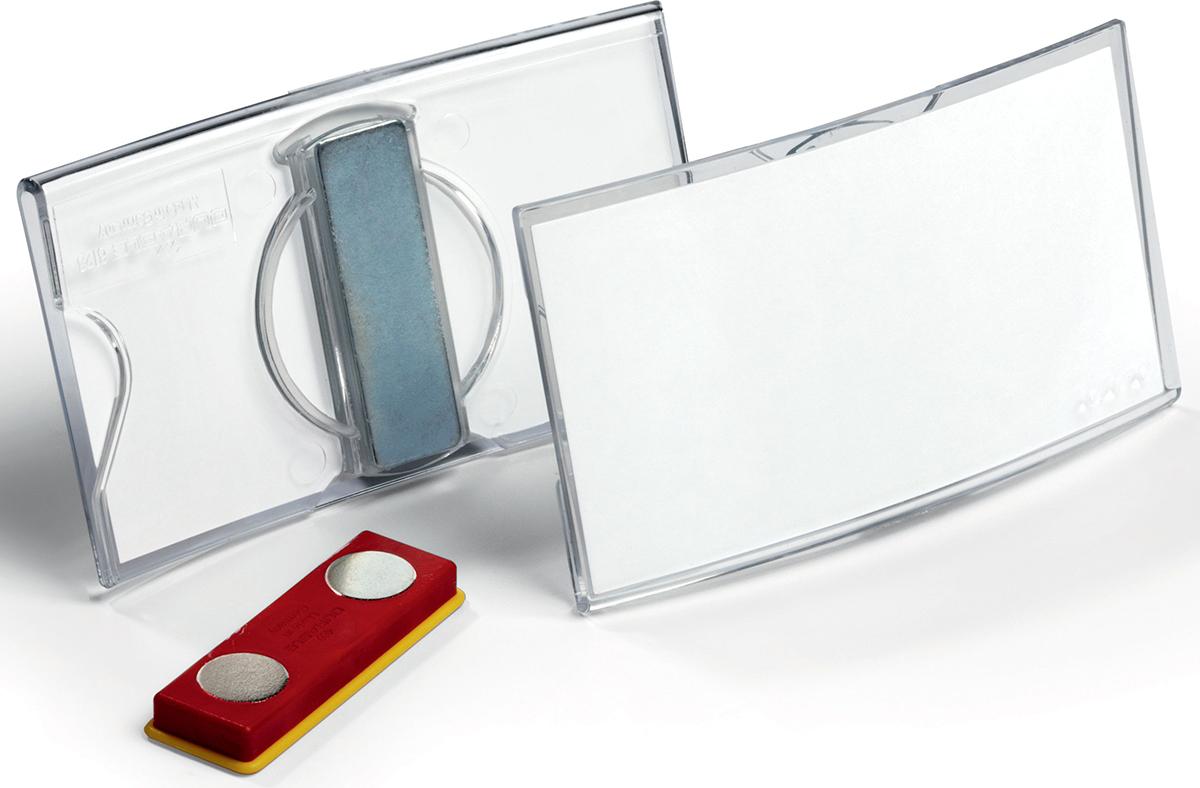 Durable Бейдж Konvex горизонтальный с магнитом8123-19Бейдж - неотъемлемый атрибут любого офиса или компании. Он является визитной карточкой сотрудника.Горизонтальный бейдж Durable изготовлен из акрила выпуклой формы. Он оснащен магнитом.Размер: 4 х 7,5 см.