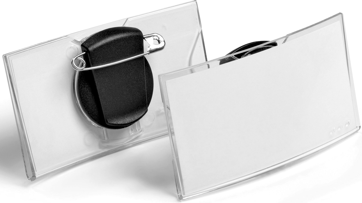 Durable Бейдж Konvex горизонтальный с клипом и булавкой8124-19Бейдж - неотъемлемый атрибут любого офиса или компании. Он является визитной карточкой сотрудника.Горизонтальный бейдж Durable изготовлен из акрила выпуклой формы. Он оснащен клипом с булавкой.Размер: 4 х 7,5 см.