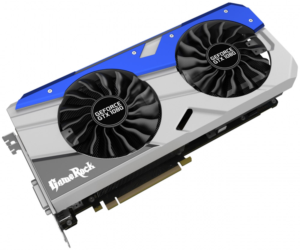 Palit GeForce GTX 1080 GameRock Premium Edition 8GB видеокартаNEB1080H15P2-1040GВ видеокарте Palit GeForce GTX 1080 GameRock Premium Edition используются лучшие игровые технологии, максимально эффективные системы охлаждения и высококачественные компоненты. С GameRock каждый пользователь может стать игровой рок-звездой.Видеокарты серии GeForce GTX 10 созданы на основе архитектуры Pascal и обеспечивают увеличение производительности до 3-х раз по сравнению с видеокартами предыдущего поколения, а также они поддерживают новые игровые технологии и революционные возможности VR.Захватывайте изображение и создавайте внутриигровые скриншоты с углом обзора 360 градусов. Делайте скриншоты с любой точки обзора, редактируйте их с помощью фильтров постобработки, записывайте HDR изображения в высоком разрешении и просматривайте их с обзором 360 градусов с помощью смартфона, ПК или гарнитуры виртуальной реальности.Цвет светодиодной RGB-подсветки может изменяться в зависимости от температуры видеокарты, что позволяет определить температуру и нагрузку по внешнему виду. Поддержка 16.8 миллионов цветов предоставляет возможность индивидуальной настройки каждому пользователю в соответствии с личными предпочтениями.Стильная металлическая пластина на обратной стороне обеспечивает защиту от механических повреждений. Уникальный внешний вид позволяет каждому геймеру визуально оценить высокое качество видеокарт серии GameRock.В разработанной для серии GameRock системе охлаждения на 22% увеличены площадь радиатора и количество пластин. Медное основание напрямую соприкасается с поверхностью графического процессора и тепловыми трубками, что обеспечивает увеличение эффективности охлаждения по сравнению с предыдущей конструкцией.8 фаз обеспечивают запас электропитания для 2560 ядер графического процессора, уменьшение нагрузки на каждую из фаз улучшает стабилизацию напряжения и эффективность подсистемы питания в целом, снижает уровень электромагнитных помех и уменьшает шум дросселей.Две версии BIOS с