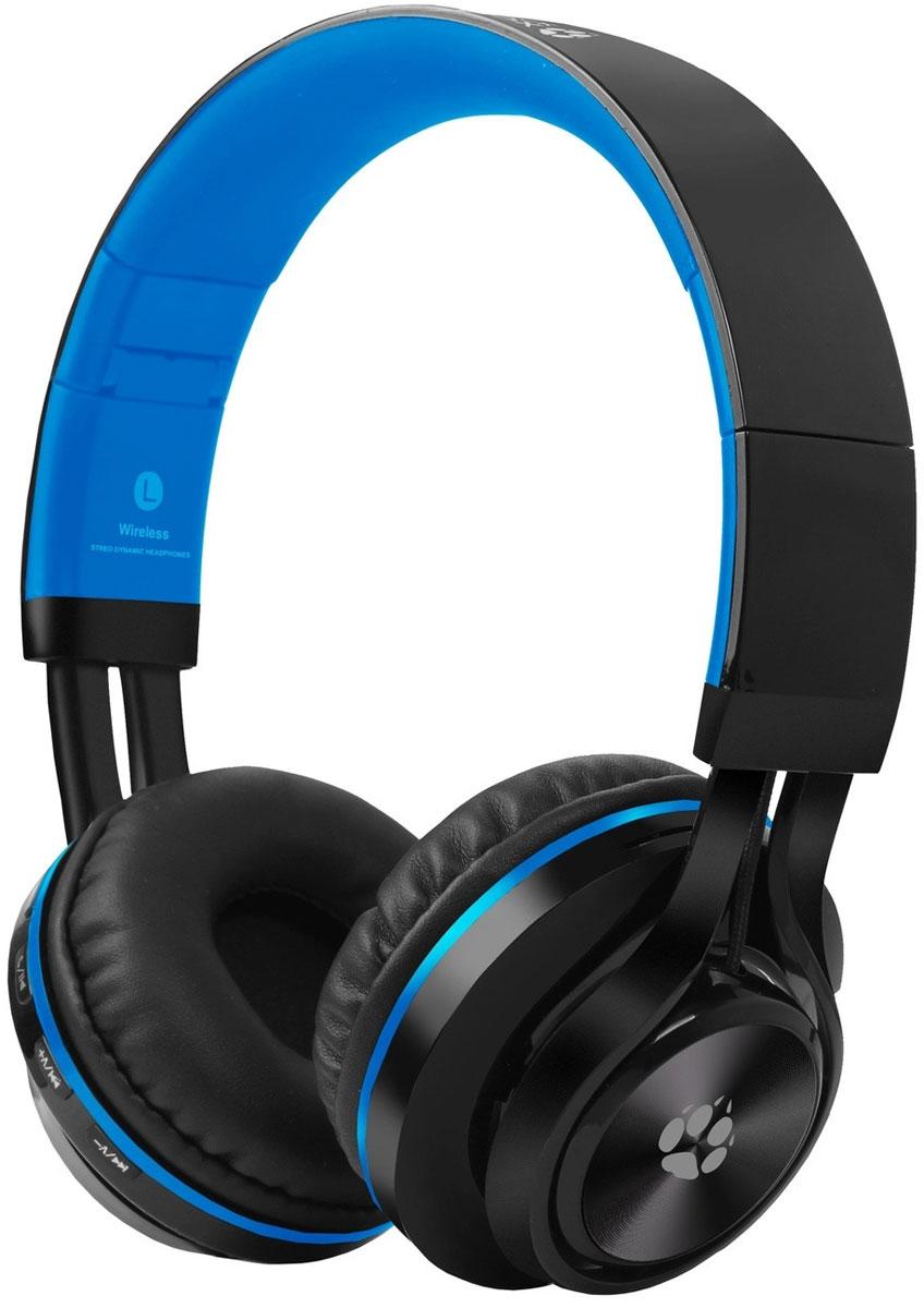 Black Fox BAH006, Black Blue беспроводные наушникиT026498Компактный размер и довольно приличная функциональность выделяют наушники Black Fox BAH006 из огромного количества устройств различных производителей.Поддержка microSD карт емкостью до 32 ГБ позволяет использовать наушники в качестве беспроводного Мр3 плеера. Наличие встроенного модуля Bluetooth версии 2.1 позволяет использовать устройство в качестве мобильной гарнитуры, а также прослушивать музыку со смартфона.4 часа автономной работы наушники отрабатывают без каких-либо проблем. При прослушивании аудио книг на средней громкости время работы составляет 5 часов, что можно считать весьма неплохим результатом для использованного элемента питания 300 мАч.Амбушюры накладные типа supra-aural изготовлены из мягкой эко кожи. Наушники очень легкие, динамики плотно прилегают к ушам. Довольно жесткая конструкция оголовья у определенных пользователей может вызвать ощущение давления на уши, даже не смотря на подвижность амбушюр.