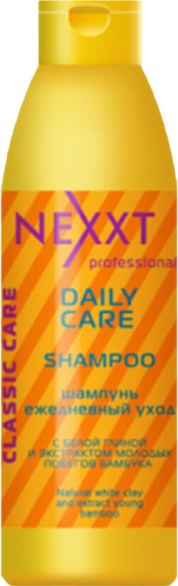 Шампунь ежедневный уход Nexxt Professional, 1000 млCL211434Средство оптимально подходит для ежедневного ухода за волосами. Благодаря компонентам белой глины, обладают мягким отшелушивающим действием. Очищают волосы у корней, удаляют жирный блеск и препятствуют загрязнению, оказывают тонизирующий эффект на кожу головы, продлевая жизнь фибробластов-клеток, ответственных за выработку коллагена и эластина, тем самым стимулируя регенерацию кожи головы и волосяных фоликул и облегчают расчесывание.