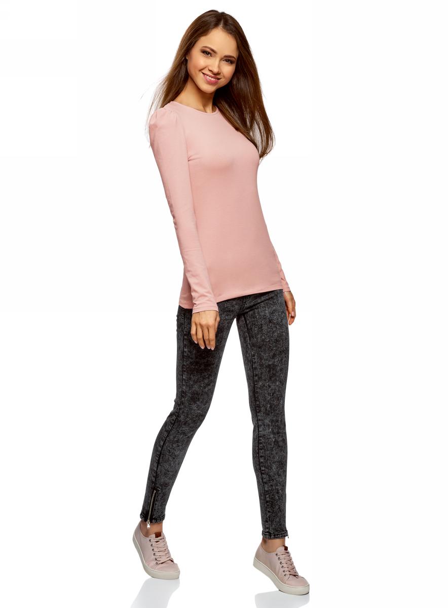 Лонгслив женский oodji Ultra, цвет: розовый. 14201033B/46147/4B00N. Размер XL (50)14201033B/46147/4B00N