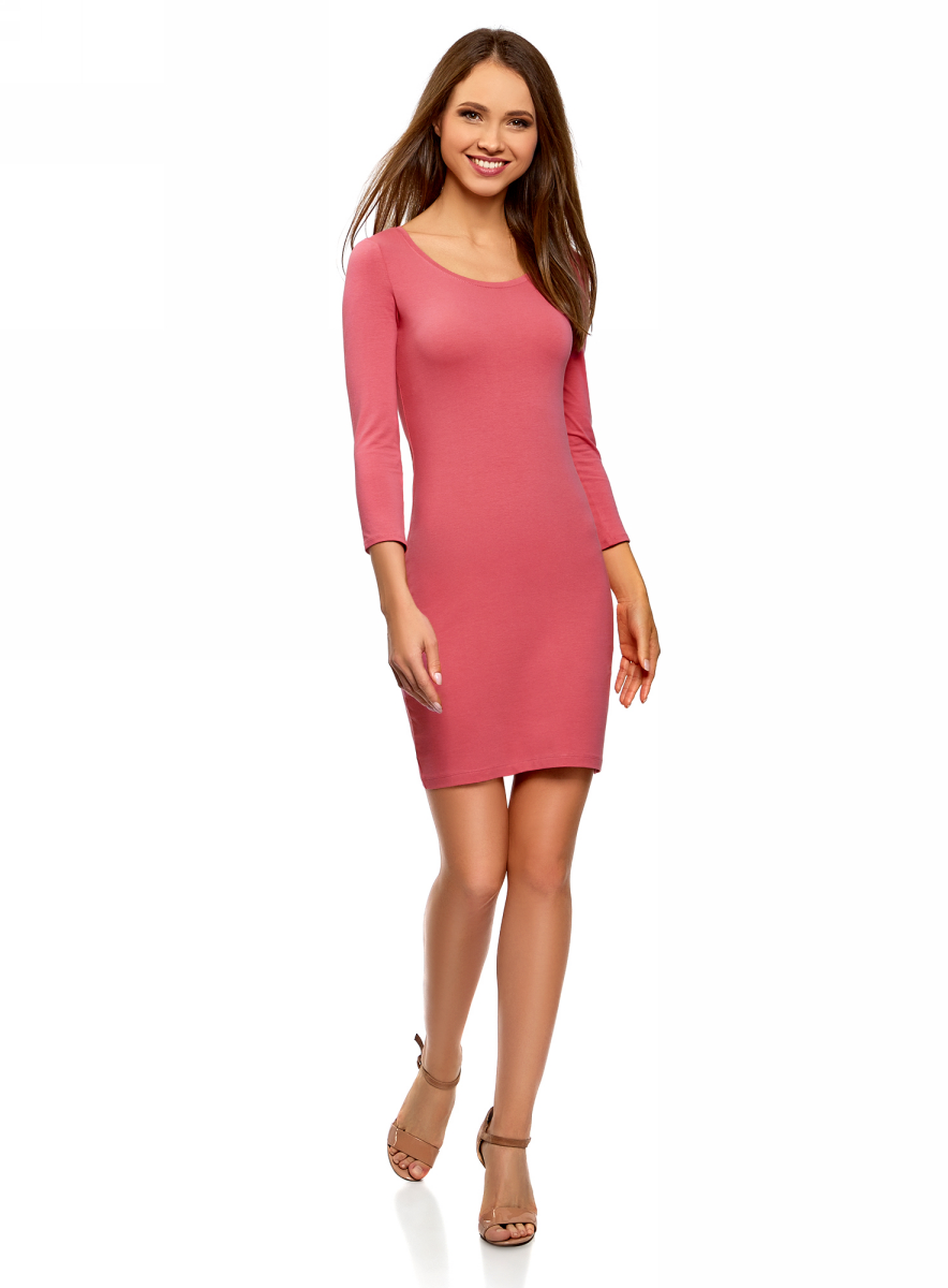 Платье oodji Ultra, цвет: розовый. 14001193B/47420/4100N. Размер XL (50) платье oodji ultra цвет сиреневый 14017001 6b 47420 8000n размер xl 50