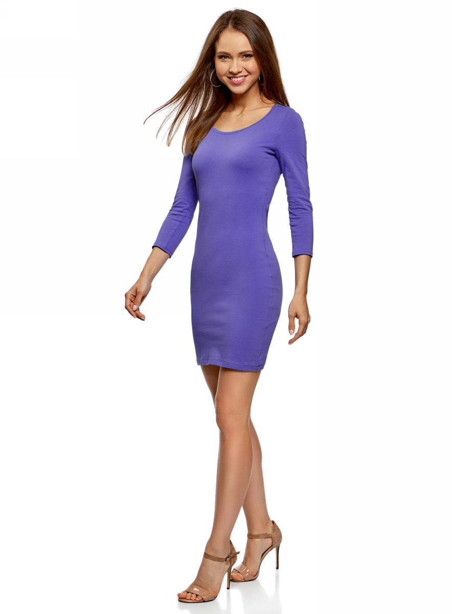 Платье oodji Ultra, цвет: сиреневый. 14001193B/47420/7500N. Размер XS (42)14001193B/47420/7500NТрикотажное платье от oodji выполнено из эластичного хлопкового трикотажа. Модель облегающего кроя с рукавами 3/4 и круглым вырезом горловины на спинке оформлено вырезом-капелькой.
