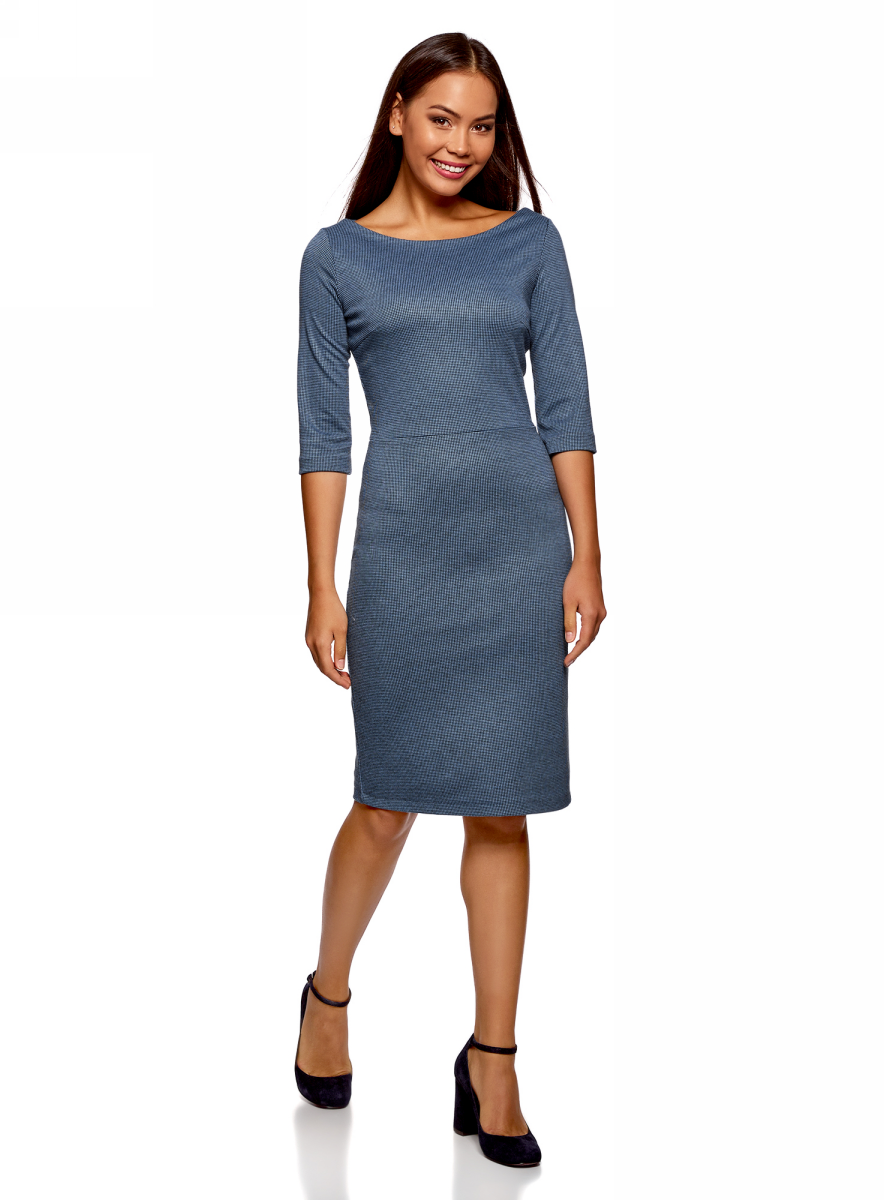 Платье oodji Ultra, цвет: черный, синий. 14011011-1/46979/2975J. Размер L (48)14011011-1/46979/2975JЭлегантное платье от oodji выполнено из высококачественного материала. Модель с рукавами 3/4 и вырезом горловины лодочка на спинке застегивается на потайную застежку-молнию.
