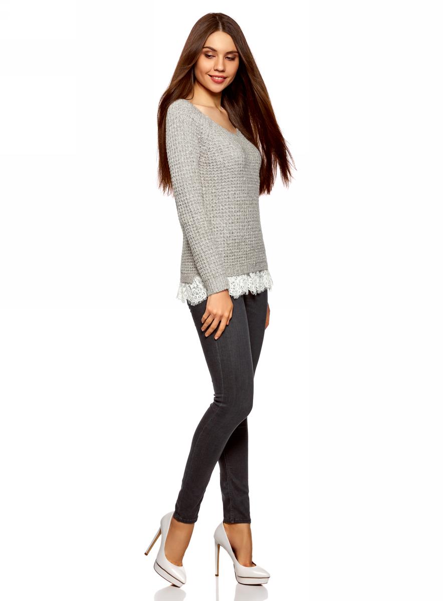 Пуловер женский oodji Ultra, цвет: серый. 63805312/47444/2312M. Размер M (46)