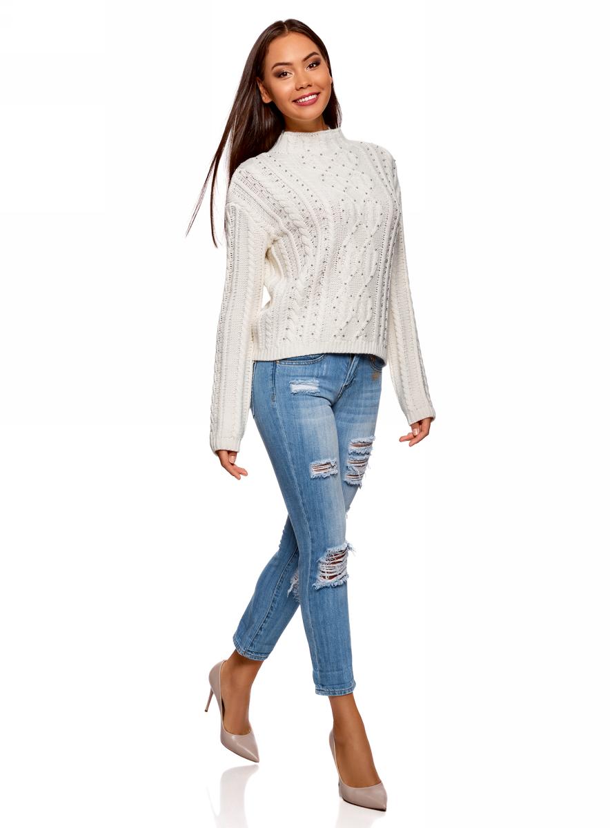 Свитер женский oodji Ultra, цвет: белый. 64403069/31328/1200N. Размер XL (50) свитер женский artka yb14740q 2015