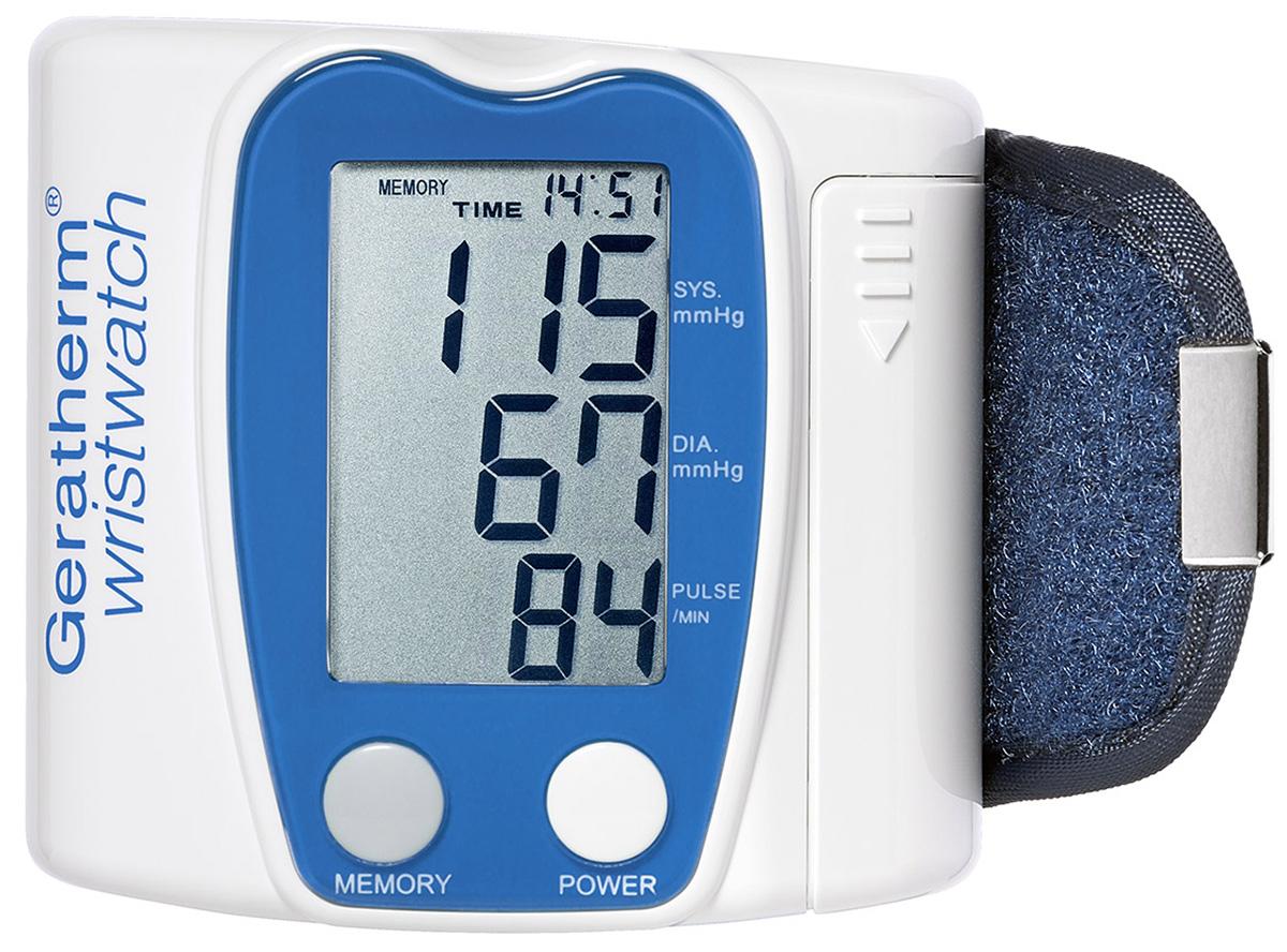 """Geratherm Тонометр электронный автомат Wrist Watch, для запястья. 30164018674403016 -Особо большой дисплей для слабовидящих людей-Память на 42 измерения-Интеллектуальное управление уровня накачки манжеты """" fuzzy logic pro """"-Регистрация даты и времени измерения-Визуальный и акустический Индикатор аритмии сердца в процессе измерения-Поставляется в четырех цветовых вариантах корпуса-Автоматическое отключения через 150 сек. после завершения измерения-Питание от 2 элементов ААА-Комфортная манжета анатомического типа-Особо прочный пластиковый футляр для хранения-Клинически апробирован-Гарантия: 5 лет-Разработанная компанией Geratherm Medical AG технология акустического усиления сигналов (ASV ISO) является эффективным инструментом, позволяющим услышать даже самые глухие тона сердечных сокращений-ВОЗРАСТ ПОЛЬЗОВАТЕЛЕЙ - ОТ 7 ДО 99 ЛЕТ"""
