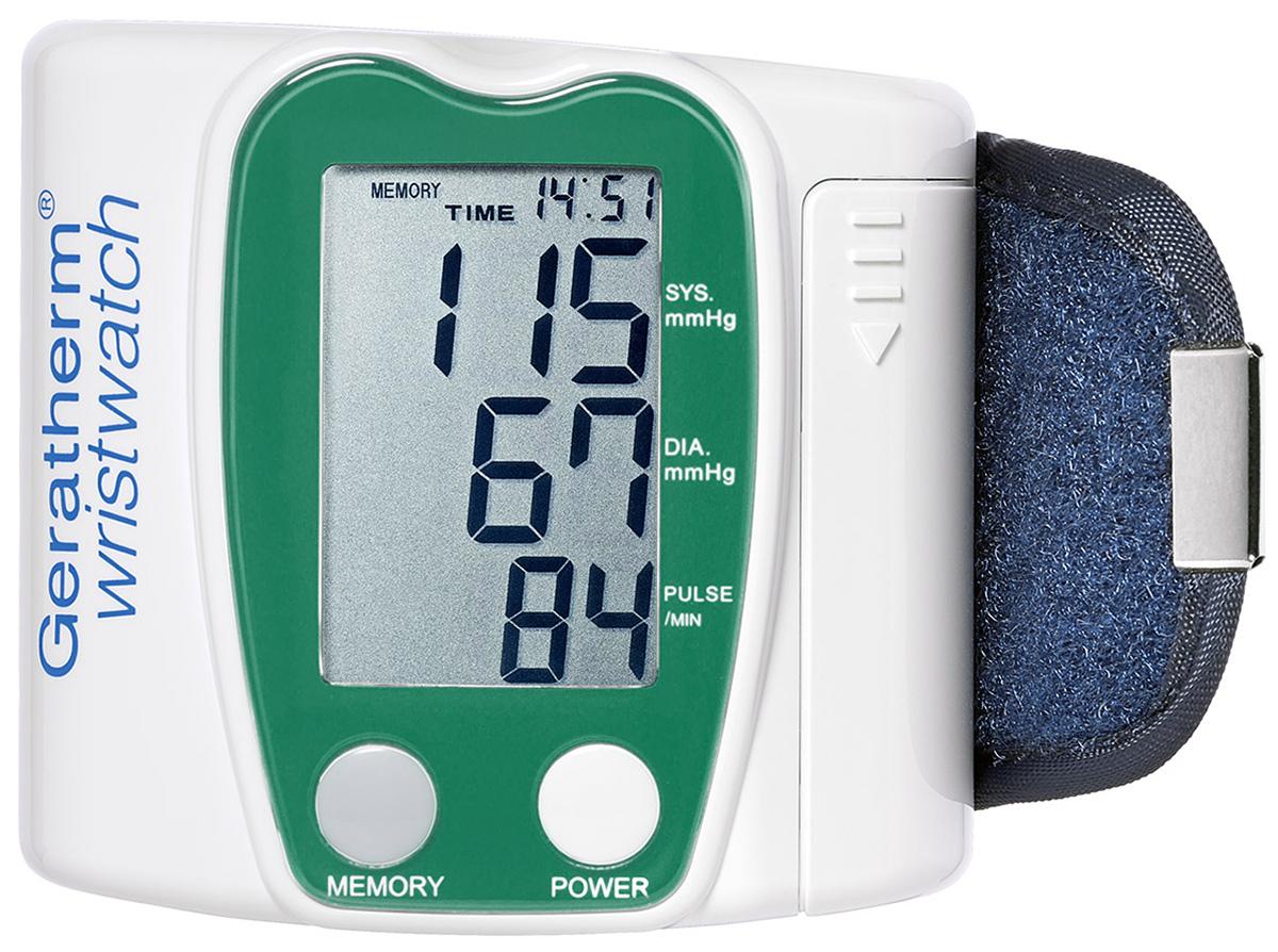 """Geratherm Тонометр электронный автомат Wrist Watch, для запястья. 30234018674403023 -Особо большой дисплей для слабовидящих людей-Память на 42 измерения-Интеллектуальное управление уровня накачки манжеты """" fuzzy logic pro """"-Регистрация даты и времени измерения-Визуальный и акустический Индикатор аритмии сердца в процессе измерения-Поставляется в четырех цветовых вариантах корпуса-Автоматическое отключения через 150 сек. после завершения измерения-Питание от 2 элементов ААА-Комфортная манжета анатомического типа-Особо прочный пластиковый футляр для хранения-Клинически апробирован-Гарантия: 5 лет-Разработанная компанией Geratherm Medical AG технология акустического усиления сигналов (ASV ISO) является эффективным инструментом, позволяющим услышать даже самые глухие тона сердечных сокращений-ВОЗРАСТ ПОЛЬЗОВАТЕЛЕЙ - ОТ 7 ДО 99 ЛЕТ"""