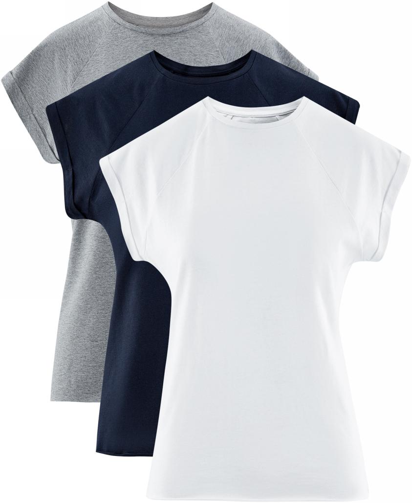 Футболка женская oodji Ultra, цвет: серый, темно-синий, белый, 3 шт. 14707001T3/46154/1900N. Размер S (44)14707001T3/46154/1900NБазовая футболка с короткими рукавами и круглым вырезом горловины выполнена из натурального хлопка. Низ футболки не обработан. В комплекте 3 футболки.