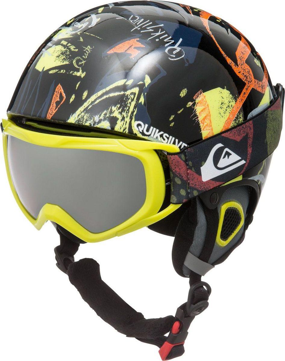 Шлем детский Quiksilver, зимний, с маской, цвет: черный. EQBTL03001-KVJ2. Размер 56EQBTL03001-KVJ2Сноубордический шлем имеет сверхлегкую конструкцию из двойного микрошелла. Безопасность обеспечивает ударопоглощающий пенный полимер EPS. Шлем дополнен верхней вентиляцией и встроенными бороздками с отделкой из пены EPS. Подкладка выполнена из сетки и флиса. Мягкие термоформованные ушные накладки со съемными чехлами выполнены из флисовой шерпы. Имеется система регулировки размера. В комплект со шлемом входит маска Eagle. Сноубордическая, горнолыжная маска имеет линзу с антифоговой обработкой (не дает запотевать изнутри), устойчивую к образованию царапин. Сферическая поликарбонатная двойная линза выполнена из пропионата и ацетата. Оправа изготовлена из полиуретана. Эргономичный 10-миллиметровый пенный наполнитель-подкладка обеспечивает комфорт. Стреп шириной 40 мм с двумя слайдерами для регулировки размера подходит для ношения со шлемом. 100% защита от УФ излучения.