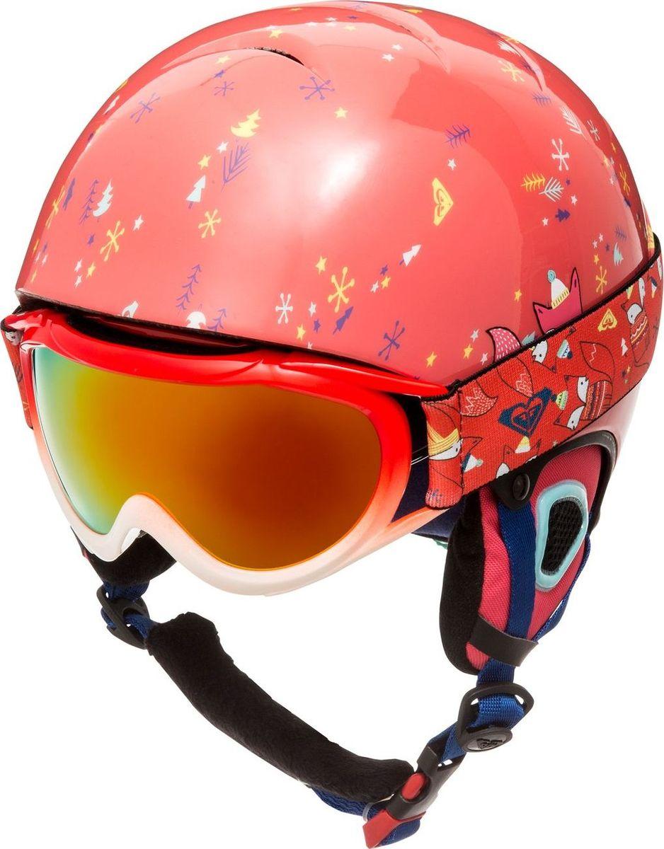Шлем зимний с маской детский Roxy ERGTL03001-NKN9, цвет: розовый. Размер 56ERGTL03001-NKN9Шлем продается в комплекте с маской LoolaПОЗИЦИЯ 1 — сноубордический шлемОсновной материал: сверхлегкая конструкция из двойного микрошеллаБезопасность: ударопоглощающий пенный полимер EPSИзнанка/подкладка: подкладка из сетки и флисаВентиляция: верхняя вентиляция и внутренние бороздки из пены EPSНакладки на уши/аудиосистема: мягкие термоформованные съемные накладки на уши со съемным утеплителем из флисовой шерпыВес: 340 гСертификация: EN 1077Прочие характеристики: система регулировки размераПОЗИЦИЯ 2 — сноубордическая/горнолыжная маскаЛинза: антифоговая обработка (не дает запотевать изнутри) + двойная линза из пропионата устойчива к образования царапин + сферическая поликарбонатная линза и линза из ацетатаОправа: полиуретановаяКомфорт: эргономичный 10-миллиметровый пенный наполнитель-подкладкаСтреп: стреп шириной 40 мм с двумя слайдерами для регулировки размера + подходит для ношения со шлемомЗащита от УФ: 100%-ая защита от УФ излучения
