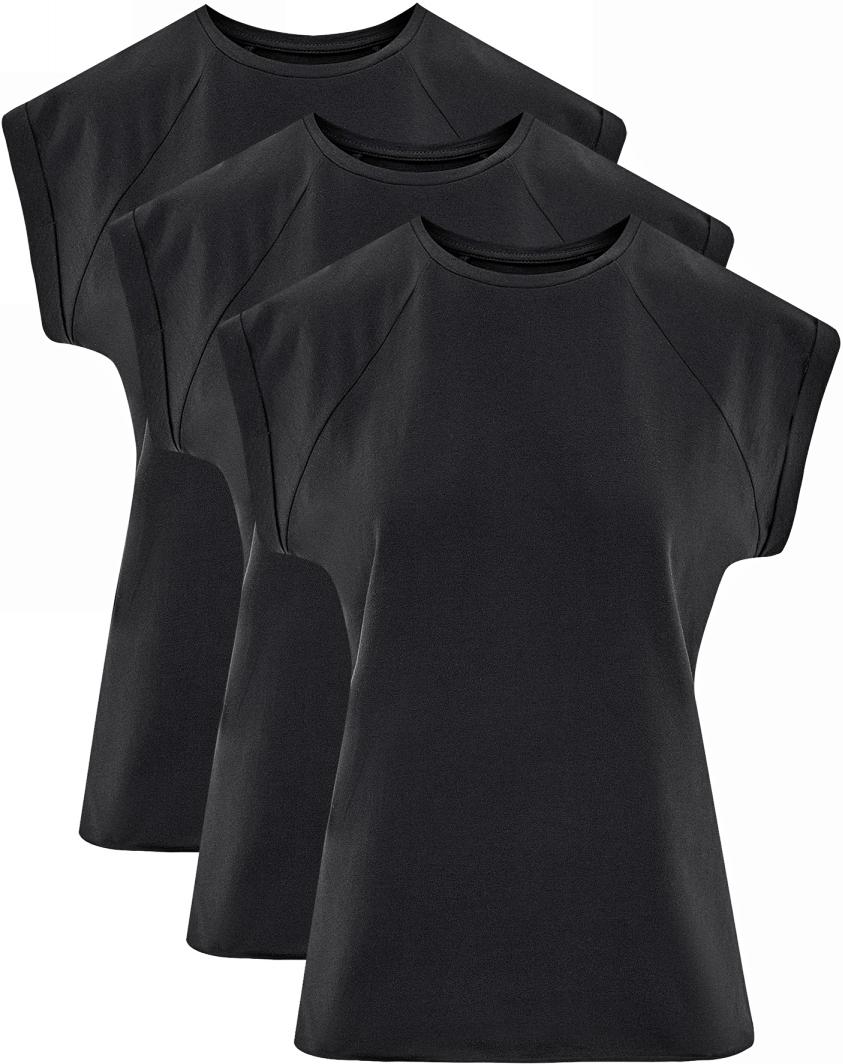 Футболка женская oodji Ultra, цвет: черный, 3 шт. 14707001T3/46154/2900N. Размер XL (50)14707001T3/46154/2900NБазовая футболка с короткими рукавами и круглым вырезом горловины выполнена из натурального хлопка. Низ футболки не обработан. В комплекте 3 футболки.