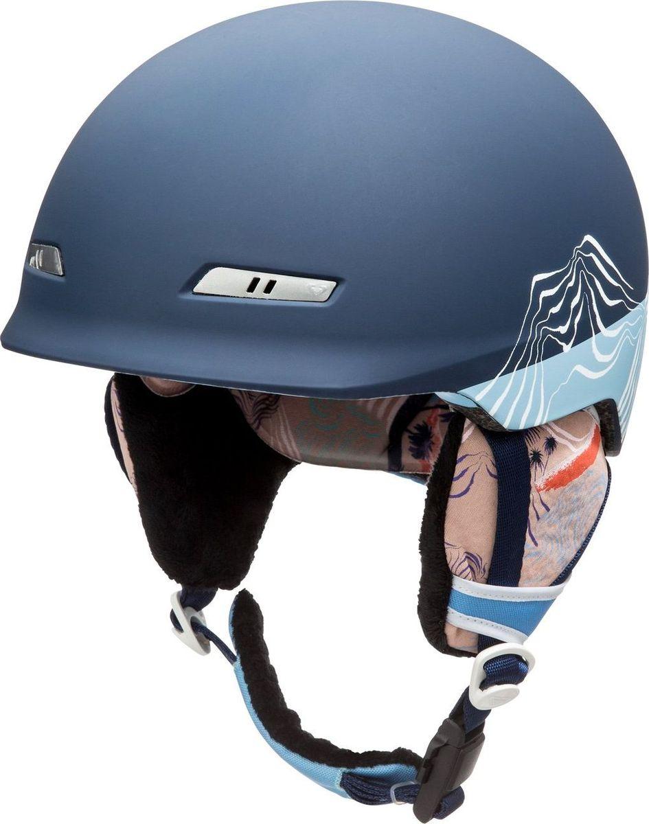 Шлем женский Roxy, зимний, цвет: голубой. ERJTL03019-NLK6. Размер MERJTL03019-NLK6Сноубордический шлем имеет сверхлегкую конструкцию из двойного микрошелла сверхлегкой литой конструкции. Безопасность обеспечивает ударопоглощающий пенный полимер EPS. Шлем дополнен пассивной вентиляцией спереди и сзади. Подкладка изготовлена из сетки и флисовой шерпы. Имеются мягкие термоформованные съемные накладки на уши, система регулировки размера и шейный гейтер. Стреп на подбородок выполнен из мягкой шерпы и оснащен застежкой системы Fidlock.