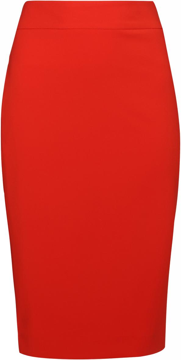 Юбка oodji Collection, цвет: красный. 21601254-6/43135/4500N. Размер 44-170 (50-170)21601254-6/43135/4500NЮбка oodji выполнена из высококачественного смесового материала. Юбка-миди застегивается сзади на молнию. Сзади имеется шлица.