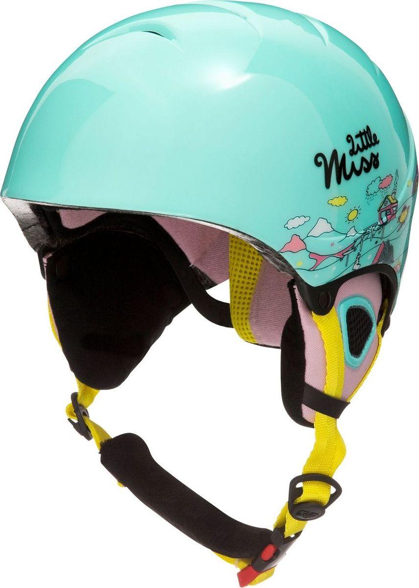 Шлем детский Roxy, зимний, цвет: бирюзовый. ERGTL03007-BFK8. Размер 52ERGTL03007-BFK8Сноубордический шлем имеет сверхлегкую конструкцию из двойного микрошелла сверхлегкой литой конструкции. Безопасность обеспечивает ударопоглощающий пенный полимер EPS. Шлем дополнен верхней вентиляцией и внутренними бороздками из пены EPS. Подкладка изготовлена из сетки и флиса. Имеются мягкие термоформованные съемные накладки на уши из флисовой шерпы и система регулировки размера.