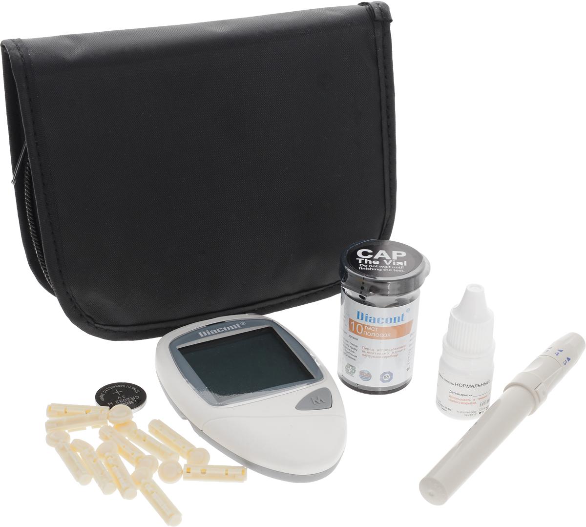 Система контроля уровня глюкозы в крови Diacont2598Система контроля уровня глюкозы в крови Diacont. Высокоточный глюкометр с большим экраном, функцией предупреждения о гипогликемии и гипергликемии, портом передачи данных на ПК и системой измерения без кодирования тест-полосок. Измерение происходит всего за 6 секунд, при этом для анализа требуется только 0,7 мкл крови. Глюкометр Diacont хранит в памяти 250 измерений, рассчитывает среднее значение за 7, 14, 21 и 28 дней, включается и выключается автоматически. Поставляется в комплекте с тест-полосками, ланцетами, устройством для получения капли крови, автоматическим скарификатором с приспособлением для взятия крови из альтернативных мест, контрольным раствором и футляром для хранения.Комплектация: глюкометр, 10-тест-полосок Diacont, 10 стерильных ланцетов, устройство для получения капли крови, автоматический скарификатор с приспособлением для взятия крови из альтернативных мест (ладонь, голень, предплечье, бедро), контрольный раствор, футляр, батарейка CR2032. Характеристики:Материал: пластик, металл, текстиль. Размер измерителя: 9,9 см х 6,2 см х 2 см.Размер упаковки: 16 см х 14 см х 5 см. Уважаемые клиенты! Обращаем ваше внимание на возможные изменения в дизайне упаковки. Качественные характеристики товара остаются неизменными. Поставка осуществляется в зависимости от наличия на складе.