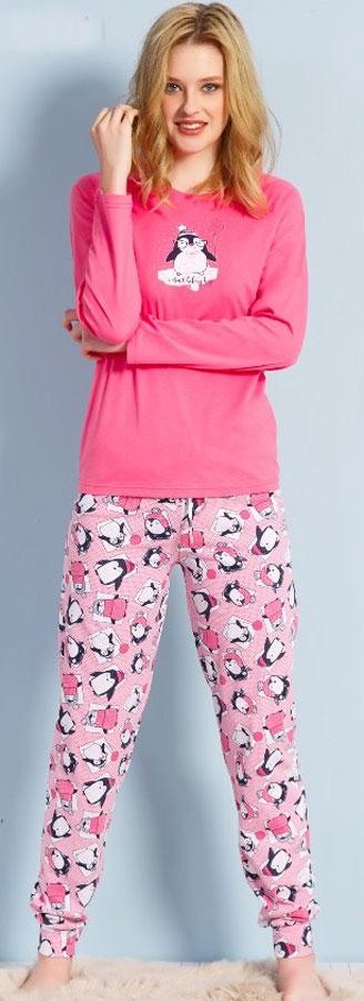 Домашний комплект женский Vienettas Secret Пингвин с шариком: брюки, кофта, цвет: темно-розовый. 703013 3129. Размер XL (50)703013 3129